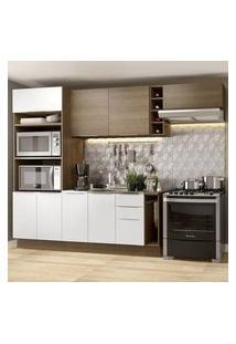Cozinha Completa Madesa Stella 290002 Com Armário E Balcão Rustic/Branco Cor:Rustic/Branco/Rustic
