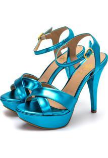 Sandália Tamanco Plataforma Salto Alto Fino Em Azul Metalizado
