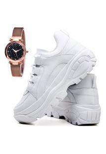 Tênis Sapatênis Casual Plataforma Fashion Com Relógio Gold Feminino Dubuy 728El Branco