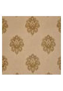Papel De Parede Vinilico Texturizado Bege Arabesco Dourado