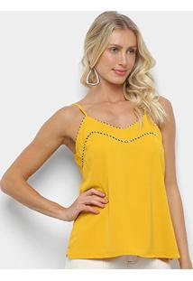 Blusa Regata Heli Lisa Feminina - Feminino-Amarelo