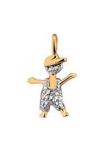 Pingente Menino Pequeno Em Ouro 18K - Unissex-Ouro