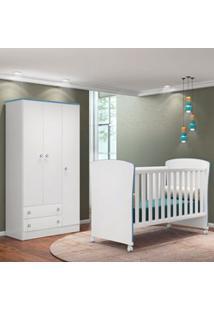 Quarto De Bebê Guarda Roupa Doce Sonho E Berço 2484 Branco/Azul - Qmov