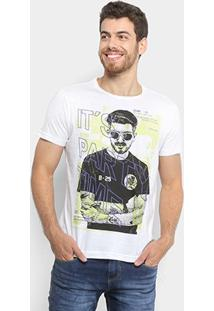 Camiseta Sideway Estampada Part Time Masculina - Masculino-Branco
