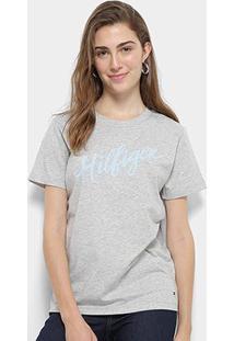 Camiseta Tommy Hilfiger Feminino Viola Feminino - Feminino-Cinza