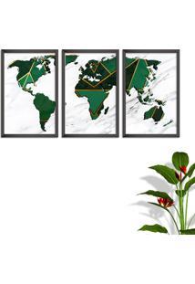 Quadro 60X120Cm Mapa Mundi Geométrico Moldura Sem Vidro Fundo Branco Altas Países Decorativo Interiores - Oppen House