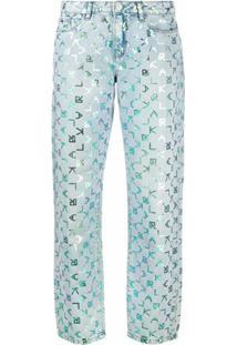 Karl Lagerfeld Calça Jeans Cintura Baixa Com Estampa - Azul