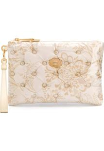 Moschino Jacquard Floral Pattern Clutch - Branco