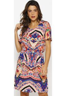 Vestido Com Elã¡Stico- Laranja & Azul Marinho- Vip Revip Reserva