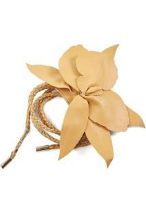 Cinto E Broche Flor Dourado - Tu
