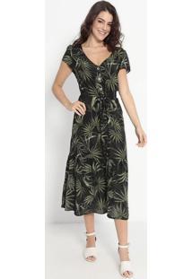 Vestido Mídi Com Botões- Preto & Verde- Vip Reservavip Reserva