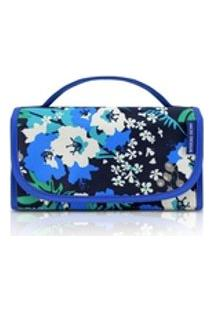 Necessaire Rocambole Azul Floral Em Nylon Com Bolsos Em Pvc