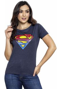 Camiseta Sideway Super Man Logo - Azul Marinho - Azul - Feminino - Dafiti