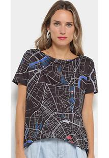 Camiseta Mullet My Favorite Thing (S) Estampada Feminina - Feminino-Preto+Cinza