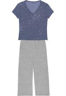 Pijama Feminino Em Malha Canelada De Viscose E Elastano