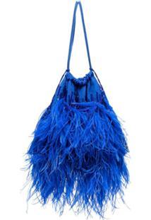 The Attico Clutch Com Tassel E Plumas - Azul