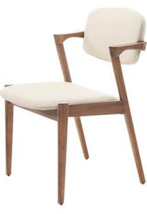 Cadeira Greta Madeira Seringueira Linho Cor Bege - 28670 - Sun House