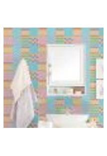Papel De Parede Autocolante Rolo 0,58 X 5M - Azulejo Listrado Zigzag 286805375