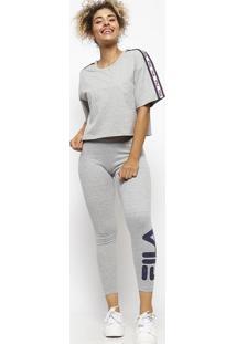 Blusa Cropped Casual Com Recortes - Cinza Claro & Azul Mfila