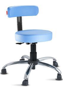 Cadeira Mocho Slim Azul Céu Cromado