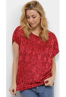 Blusa Pérola Flores Feminina - Feminino-Vermelho