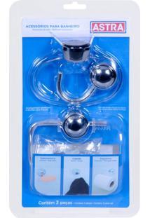 Kit De Acessórios Para Banheiro 3 Peças Astra Cromado