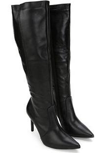 Bota Couro Montaria Shoestock Bico Fino Feminina - Feminino-Preto