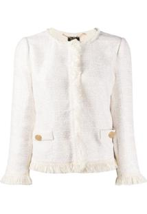 Liu Jo Jaqueta De Tweed Com Franjas - Branco