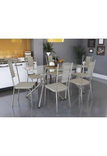 Conjunto De Mesa Ural Com 6 Cadeiras Lisboa Crome Kappesberg Linho Marrom