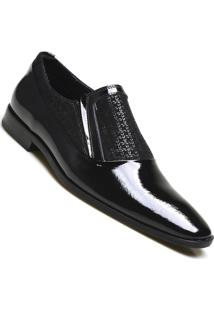 Sapato Social Couro Calvest Verniz - Masculino-Preto