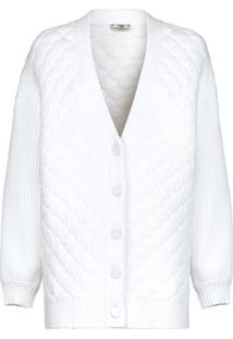 Fendi Cardigan Matelassê Com Abotoamento Frontal - Branco