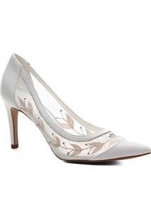 Scarpin Shoestock Salto Alto Bride - Feminino-Branco