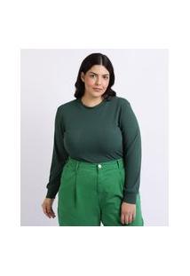 Blusa Feminina Mindset Plus Size Canelada Manga Longa Decote Redondo Verde