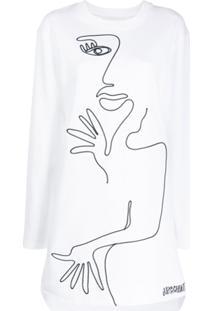 Moschino Vestido De Moletom Com Estampa Abstrata - Branco