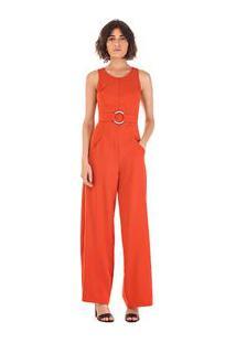 Macacao Longo Pantalona Com Cinto Vermelho