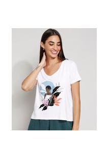 Camiseta Feminina Manga Curta Mulher Decote V Off White