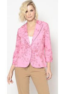 Blazer Floral Com Recortes- Rosa & Vermelho- Cotton Cotton Colors Extra
