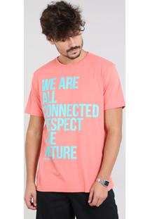 "Camiseta Masculina ""Respect The Nature"" Manga Curta Gola Careca Coral"