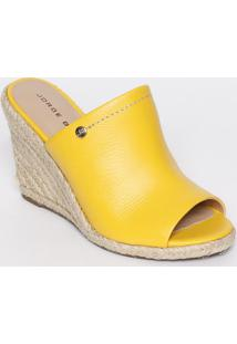 Tamanco Com Pespontos - Amarelo - Salto: 10Cmjorge Bischoff