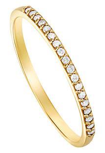 Anel Em Ouro Amarelo 18K Com Diamante-Meia Aliança 18
