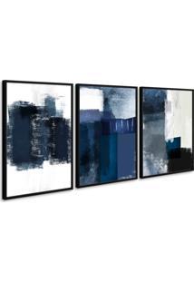 Quadro 40X90Cm Abstrato Textura Margolanak Moldura Preta Com Vidro - Multicolorido - Dafiti