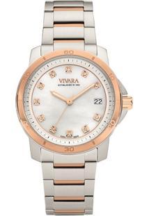 Relógio Vivara Feminino Aço Prateado E Rosé - Ds13118R0C-1