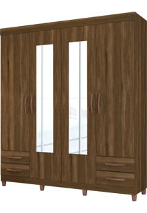 Guarda Roupa Diamante C/ Espelho 4 Portas E 4 Gavetas Externas Cedro Albatroz