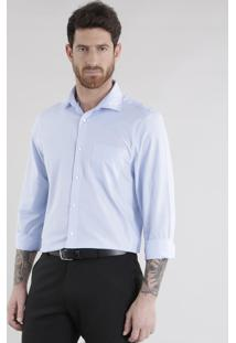 Camisa Masculina Comfort Azul Claro