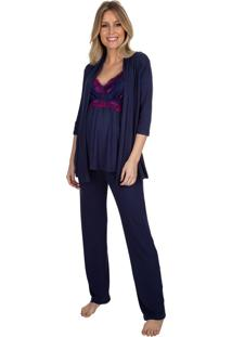 Pijama Gestante Triplex Marinho Com Renda Bicolor Azul Marinho