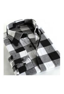 Camisa Xadrez Masculina Slim Fit Alabama - Cinza E Preto