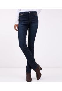 Calça Jeans Reta Com Material Sintético Nos Bolsos