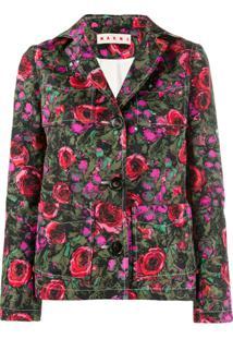 Marni Blazer Floral Com Abotoamento - Rosa