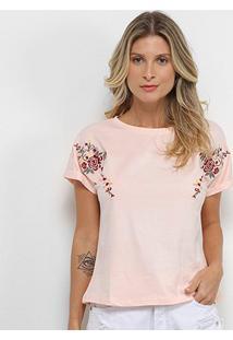 Camiseta Pérola Bordada Flor Feminina - Feminino-Rosa