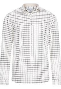 Camisa Masculina Oxford Manga Longa - Off White
